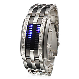 Men's Wrist Watch Unique Creative Watch Digital Stainless Steel Silver Calendar / date / day LED Digital Silver One Year Battery Life / SSUO CR2025