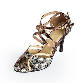 Women's Latin Shoes Heel Stiletto Heel Leatherette Buckle Bronze / Ballroom Shoes