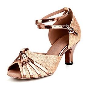 Women's Latin Shoes Heel Customized Heel Buckle Gold