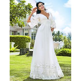 A-Line Wedding Dresses V Neck Floor Length Chiffon 3/4 Length Sleeve See-Through Backless with Beading 2020 / Illusion Sleeve