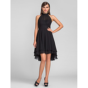 A-Line Little Black Dress Black Homecoming Cocktail Party Dress Halter Neck Sleeveless Knee Length Chiffon with Pleats 2020