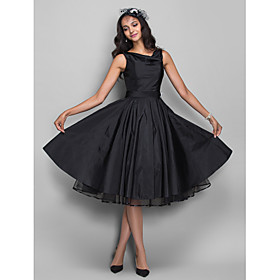 Ball Gown 1950s Black Cocktail Party Prom Dress V Neck Sleeveless Knee Length Taffeta with Pleats Crystals 2020