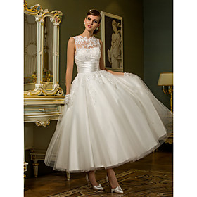 A-Line Wedding Dresses High Neck Ankle Length Lace Over Tulle Regular Straps Vintage Little White Dress Illusion Detail with Sash / Ribbon Ruched Appliques 202