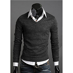 Men's Casual Solid Colored Pullover Long Sleeve Slim Regular Sweater Cardigans V Neck Fall Winter Wine Black Purple / Weekend