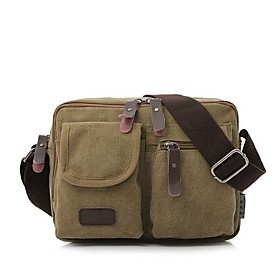 Men's Bags Canvas Shoulder Messenger Bag Vintage for Daily Black / Khaki / Green / Coffee