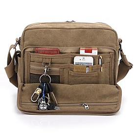 Men's Bags Canvas Crossbody Bag for Daily Cream / Black / Brown / Beige