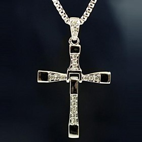 Men's Pendant Necklace Vintage Necklace Cross Ladies Movie Jewelry Christ Rhinestone Alloy Silver Necklace Jewelry For Christmas Gifts Party Daily Casual Sport