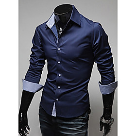 Men's Casual / Daily Shirt Solid Colored Long Sleeve Slim Tops Button Down Collar Wine White Black
