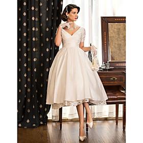 A-Line Wedding Dresses V Neck Tea Length Taffeta Short Sleeve Vintage Little White Dress 1950s with Lace Criss Cross 2020