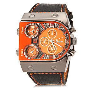 Oulm Men's Military Watch Wrist Watch Quartz Charm Three Time Zones Analog White Yellow Orange / Quilted PU Leather / Two Years / Two Years