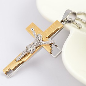 Men's Pendant Necklace Cross Ladies Fashion Christ Titanium Steel Gold Plated Golden Black Silver Necklace Jewelry For Daily Casual