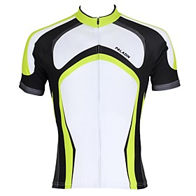ILPALADINO Men's Short Sleeve Cycling Jersey Green Stripes Bike Jersey Top Mountain Bike MTB Road Bike Cycling Breathable Quick Dry Ultravi