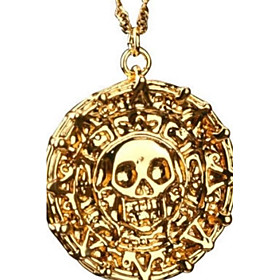 Men's Pendant Necklace Coin Skull Halloween Calaveras Memento Mori Vintage Alloy Bronze Golden Necklace Jewelry For Christmas Gifts Party Daily Casual