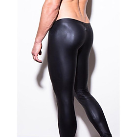 Men's Patent Leather Touch of Sensation Long Johns Solid Colored Low Waist