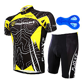 FJQXZ Men's Short Sleeve Cycling Jersey with Shorts Yellow / Black Stripes Bike Clothing Suit Breathable Quick Dry Anatomic Design Ultravio