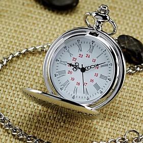 Men's Pocket Watch Necklace Watch Quartz Roman Numeral Vintage Analog Silver / One Year / SODA AG4