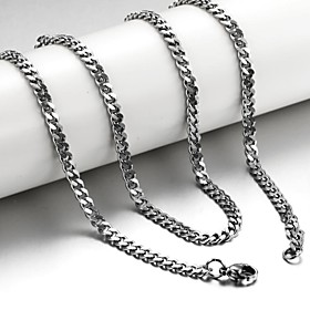 Men's Chain Necklace Foxtail chain franco chain Mariner Chain Titanium Steel Silver Necklace Jewelry For Christmas Gifts Wedding Party Daily Casual Sports