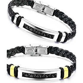 Men's Leather Bracelet woven Unique Design Fashion Leather Bracelet Jewelry Silver / Golden For Christmas Gifts Wedding Party Daily Casual / Titanium Steel
