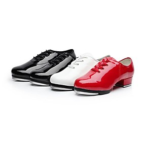 Women's Tap Shoes Split Sole Low Heel Patent Leather Lace-up Black / White / Red / EU40