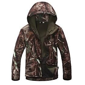 Men's Camouflage Hunting Jacket Camo / Camouflage Winter Outdoor Thermal / Warm Windproof Breathable Rain Waterproof Fleece Jacket Hoodie Softshell Jacket Camp