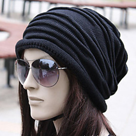 Unisex Work Active Cotton Beanie / Slouchy-Solid Colored Pleated Winter Brown Black Gray / Fabric