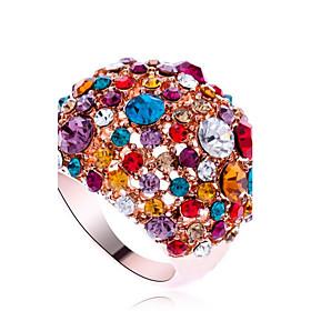 Statement Ring Cubic Zirconia Pave Screen Color Cubic Zirconia Imitation Diamond Alloy Rainbow Statement Luxury Fashion / Women's