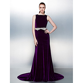 A-Line Open Back Formal Evening Dress Bateau Neck Sleeveless Court Train Velvet with Sash / Ribbon Pearls Beading 2020