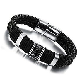 Men's Leather Bracelet woven Unique Design Fashion Leather Bracelet Jewelry Silver / Black For Wedding Party Daily Casual Sports / Titanium Steel