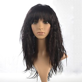 Synthetic Wig Curly Curly With Bangs Wig Long Dark Brown Synthetic Hair 22 inch Women's Brown