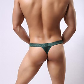 Men's 1 Piece Briefs Underwear Solid Colored Wine Black Green S M L