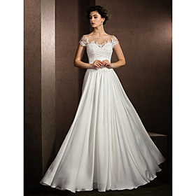 A-Line Wedding Dresses Scoop Neck Floor Length Satin Chiffon Short Sleeve Casual Plus Size with Beading Appliques 2020