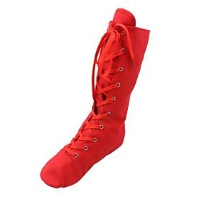 Women's Dance Shoes Jazz Shoes / Ballroom Shoes / Line Dance Boots Split Sole Lace-up Flat Heel Black / White / Red / EU43