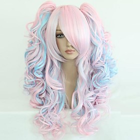 Cosplay Costume Wig Synthetic Wig Curly Wavy Loose Wave Natural Wave Curly Wig Blonde Rainbow Blonde Synthetic Hair 25 inch Women's Blonde Multi-color