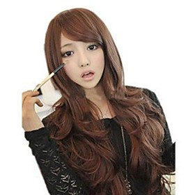 Synthetic Wig Wavy Loose Wave Deep Wave Loose Wave Deep Wave With Bangs Wig Long Chestnut Brown Synthetic Hair 25 inch Women's Brown