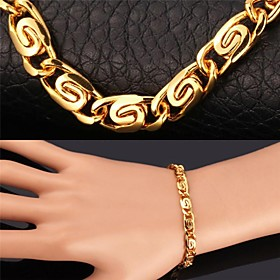 Men's Women's Chain Bracelet Vintage Bracelet Gold Plated Bracelet Jewelry Golden For Christmas Gifts Wedding Party Daily Casual Sports