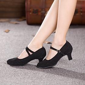 Women's Dance Shoes Modern Shoes / Ballroom Shoes / Line Dance Heel Cuban Heel Non Customizable Black / Fuchsia / EU42