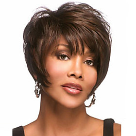 Synthetic Wig Straight Curly Curly Straight Wig Short Darkest Brown Synthetic Hair 8 inch Women's Brown StrongBeauty