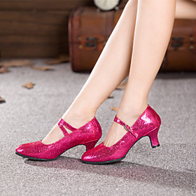 Women's Modern Shoes Heel Cuban Heel Paillette Leatherette Buckle Black / Red / Blue / EU36
