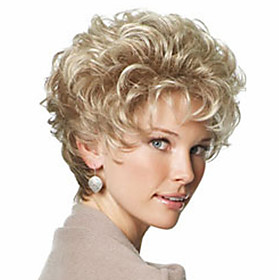 Synthetic Wig Curly Kinky Curly Kinky Curly Curly With Bangs Wig Blonde Short Light Blonde Synthetic Hair 8 inch Women's With Bangs Blonde StrongBeauty