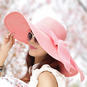 Women's Vintage Sun Hat - Solid Colored, Bow