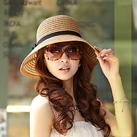 Women's Straw Hat Sun Hat Cotton Blend Straw Holiday - Solid Colored Summer Khaki Beige / Brown / Hat  Cap