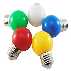 5pcs Coloured E27 1W Energy Saving 6 LED Light Bulbs Globe Lamp DIY White Green Yellow Blue Red color Bright AC220-240V