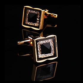 Men's Cufflinks Rhinestone Brooch Jewelry Silver Golden For