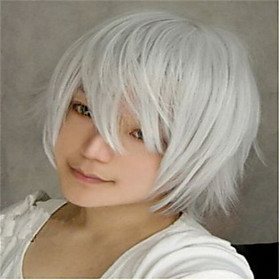 Cosplay Costume Wig Synthetic Wig Natural Wave Kardashian Natural Wave Wig Short Silver Synthetic Hair Women's White