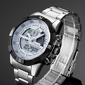 Men's Sport Watch Dress Watch Wrist Watch Quartz Classic Water Resistant / Waterproof Analog - Digital White Black Yellow / Stainless Steel / Stainless Steel /