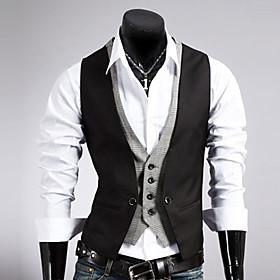 Men's Vest Regular Solid Colored Work Sleeveless Black / Brown M / L / XL / Business Formal / Slim