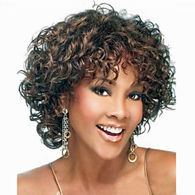 Synthetic Wig Curly Curly Asymmetrical Wig Short Medium Brown Synthetic Hair Women's Natural Hairline Black Brown