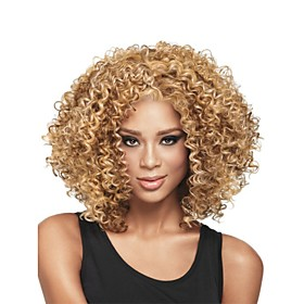 Synthetic Wig Curly Curly Wig Blonde Medium Length Light Brown Synthetic Hair Women's African American Wig Glueless Blonde StrongBeauty
