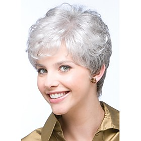 Synthetic Wig Curly Kardashian Curly Pixie Cut With Bangs Wig Short Grey Synthetic Hair Women's Side Part Glueless White StrongBeauty