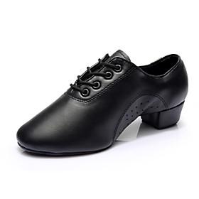 Men's Latin Shoes Heel Split Sole Chunky Heel Microfiber Lace-up Black / Indoor / Practice / Professional / EU42